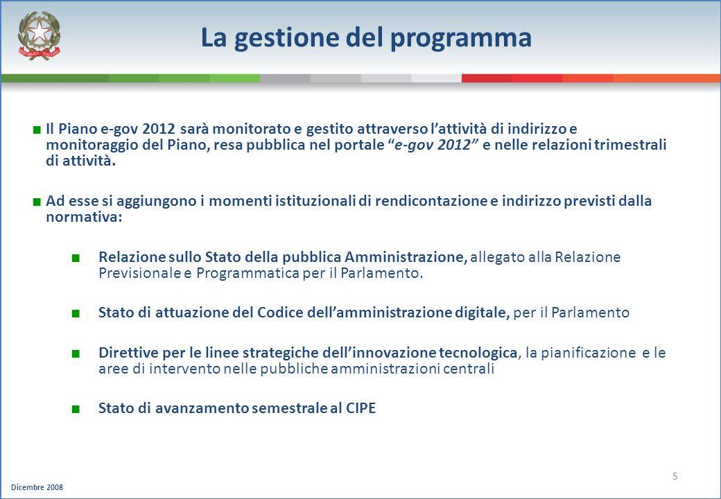 Dicembre 2008 5 La gestione del programma Il Piano e-gov 2012 sarà monitorato e gestito attraverso lattività di indirizzo e monitoraggio del Piano, re