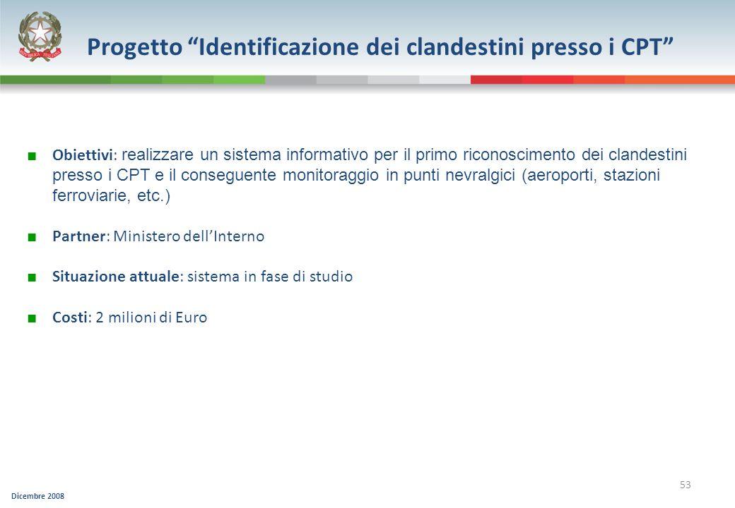 Dicembre 2008 53 Progetto Identificazione dei clandestini presso i CPT Obiettivi: realizzare un sistema informativo per il primo riconoscimento dei cl