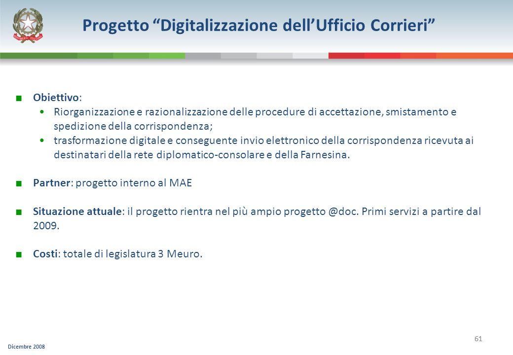 Dicembre 2008 61 Progetto Digitalizzazione dellUfficio Corrieri Obiettivo: Riorganizzazione e razionalizzazione delle procedure di accettazione, smist