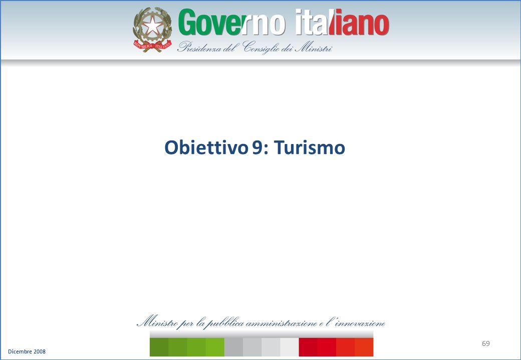 Dicembre 2008 69 Obiettivo 9: Turismo