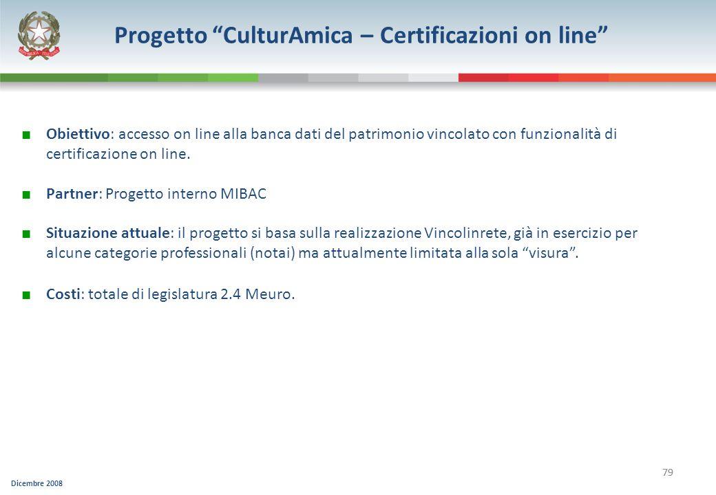 Dicembre 2008 79 Progetto CulturAmica – Certificazioni on line Obiettivo: accesso on line alla banca dati del patrimonio vincolato con funzionalità di