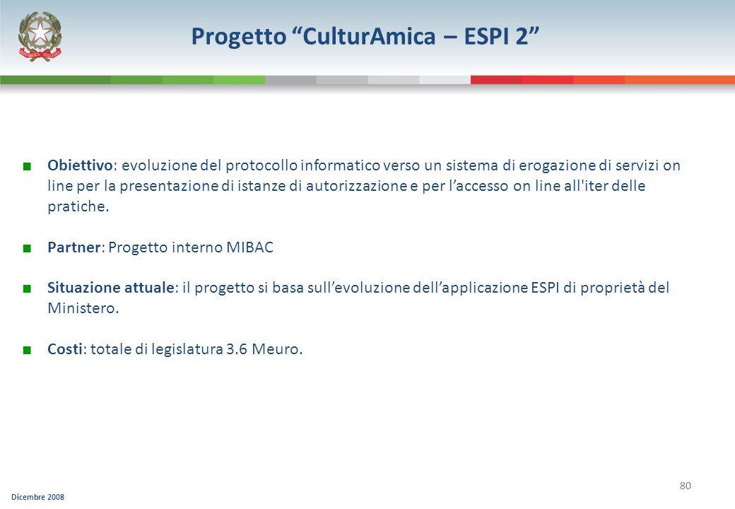 Dicembre 2008 80 Progetto CulturAmica – ESPI 2 Obiettivo: evoluzione del protocollo informatico verso un sistema di erogazione di servizi on line per