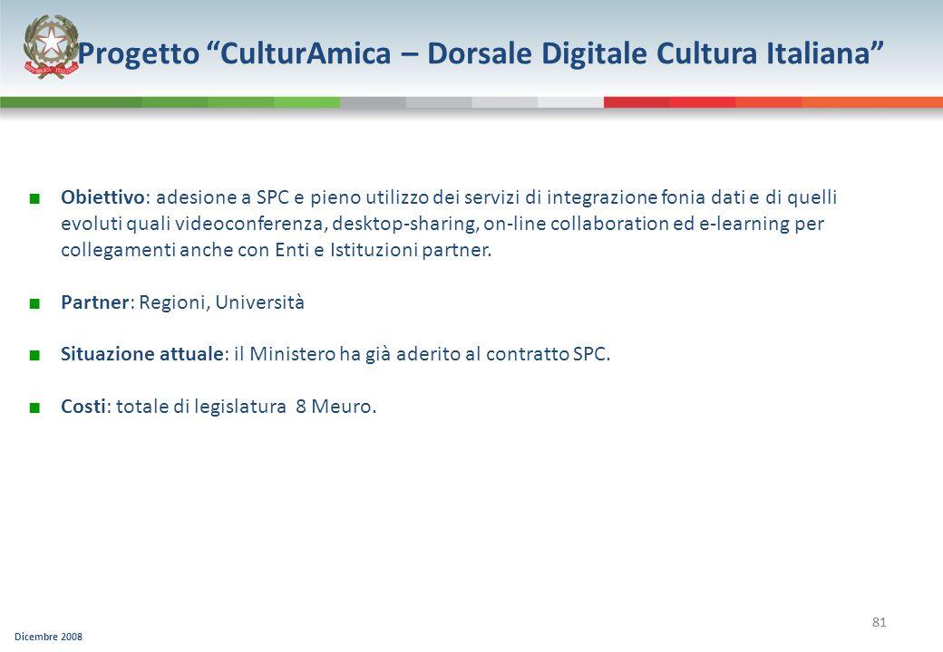 Dicembre 2008 81 Progetto CulturAmica – Dorsale Digitale Cultura Italiana Obiettivo: adesione a SPC e pieno utilizzo dei servizi di integrazione fonia