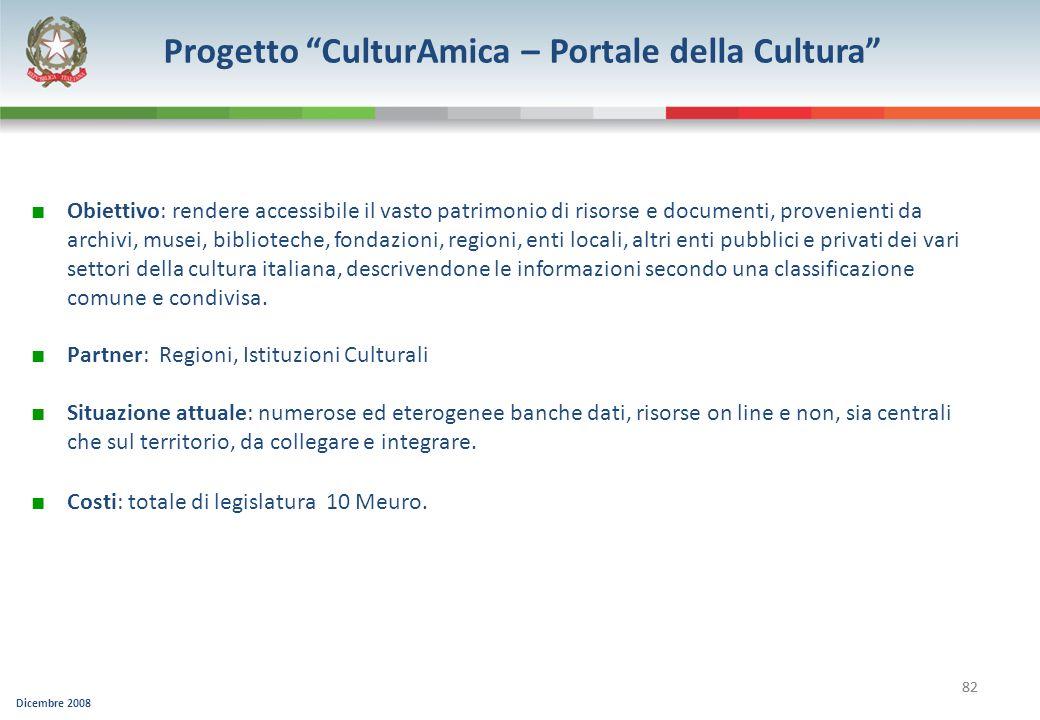 Dicembre 2008 82 Progetto CulturAmica – Portale della Cultura Obiettivo: rendere accessibile il vasto patrimonio di risorse e documenti, provenienti d