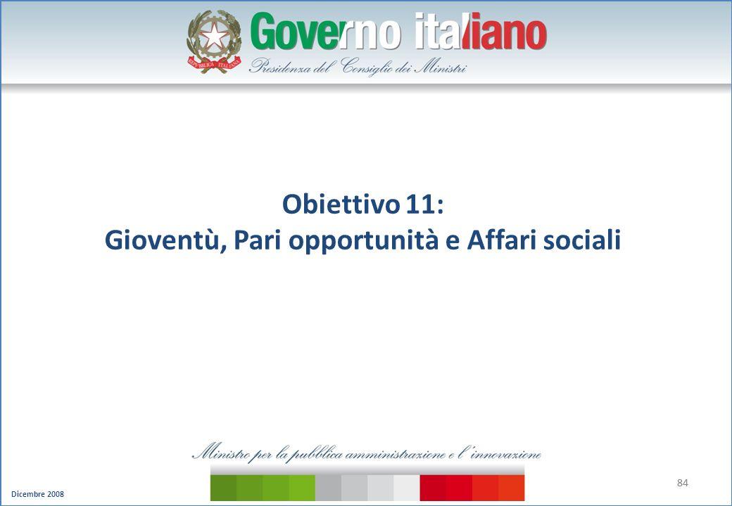 Dicembre 2008 84 Obiettivo 11: Gioventù, Pari opportunità e Affari sociali