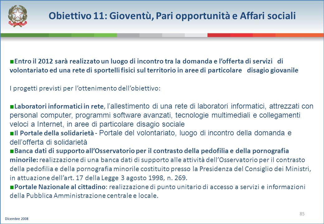 Dicembre 2008 85 Obiettivo 11: Gioventù, Pari opportunità e Affari sociali Entro il 2012 sarà realizzato un luogo di incontro tra la domanda e loffert