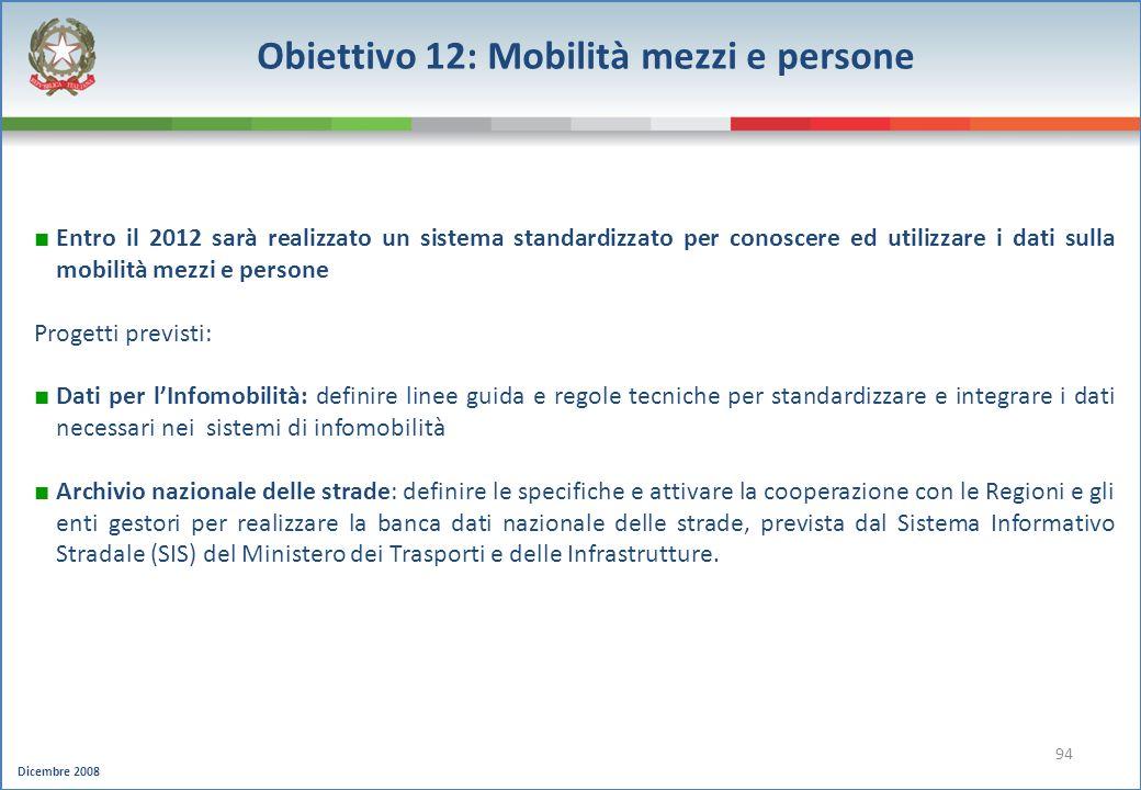 Dicembre 2008 94 Obiettivo 12: Mobilità mezzi e persone Entro il 2012 sarà realizzato un sistema standardizzato per conoscere ed utilizzare i dati sul
