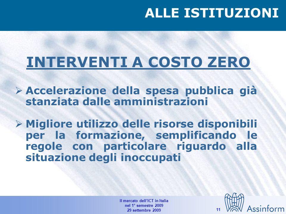 Il mercato dellICT in Italia nel 1° semestre 2009 29 settembre 2009 10 Finanziamenti per gli investimenti IT delle imprese più dinamiche Finanziamenti alle imprese IT finalizzati al mantenimento dell occupazione ALLE BANCHE