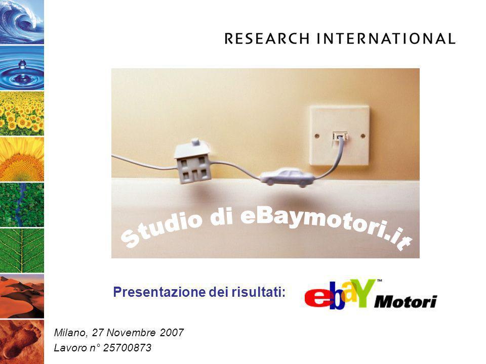 Milano, 27 Novembre 2007 Lavoro n° 25700873 Presentazione dei risultati: