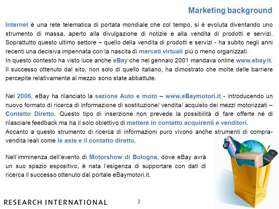 2 Marketing background Internet è una rete telematica di portata mondiale che col tempo, si è evoluta diventando uno strumento di massa, aperto alla d