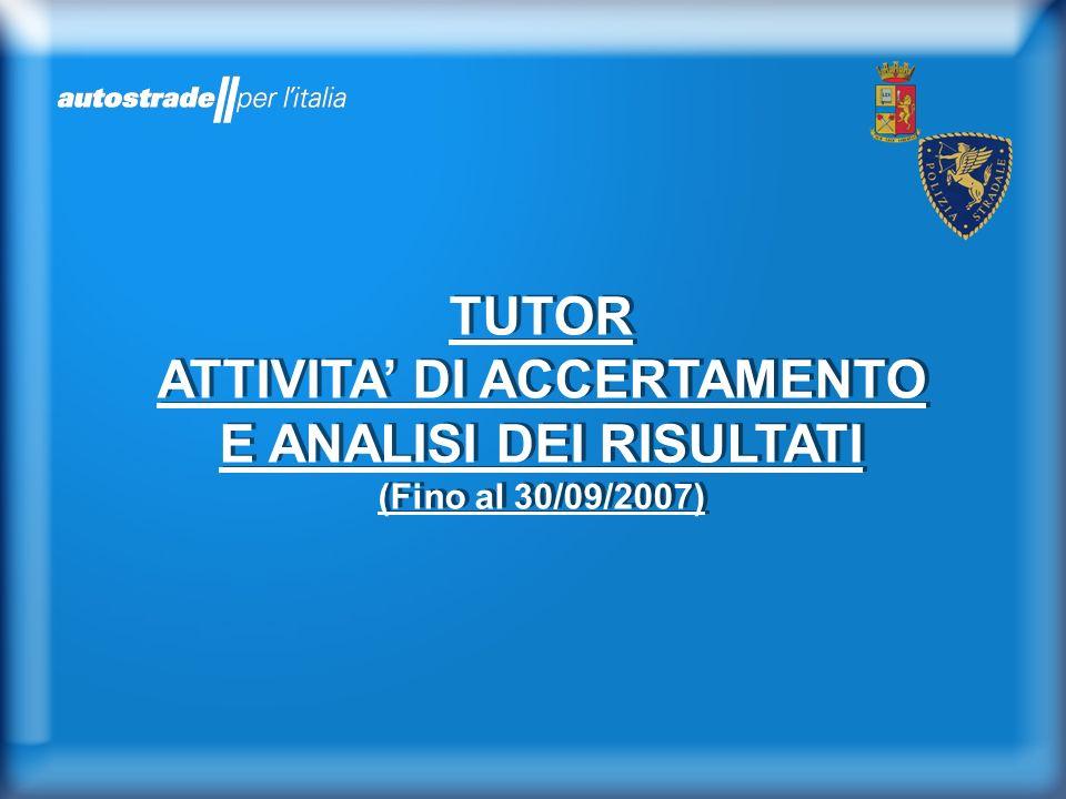TUTOR ATTIVITA DI ACCERTAMENTO E ANALISI DEI RISULTATI (Fino al 30/09/2007)