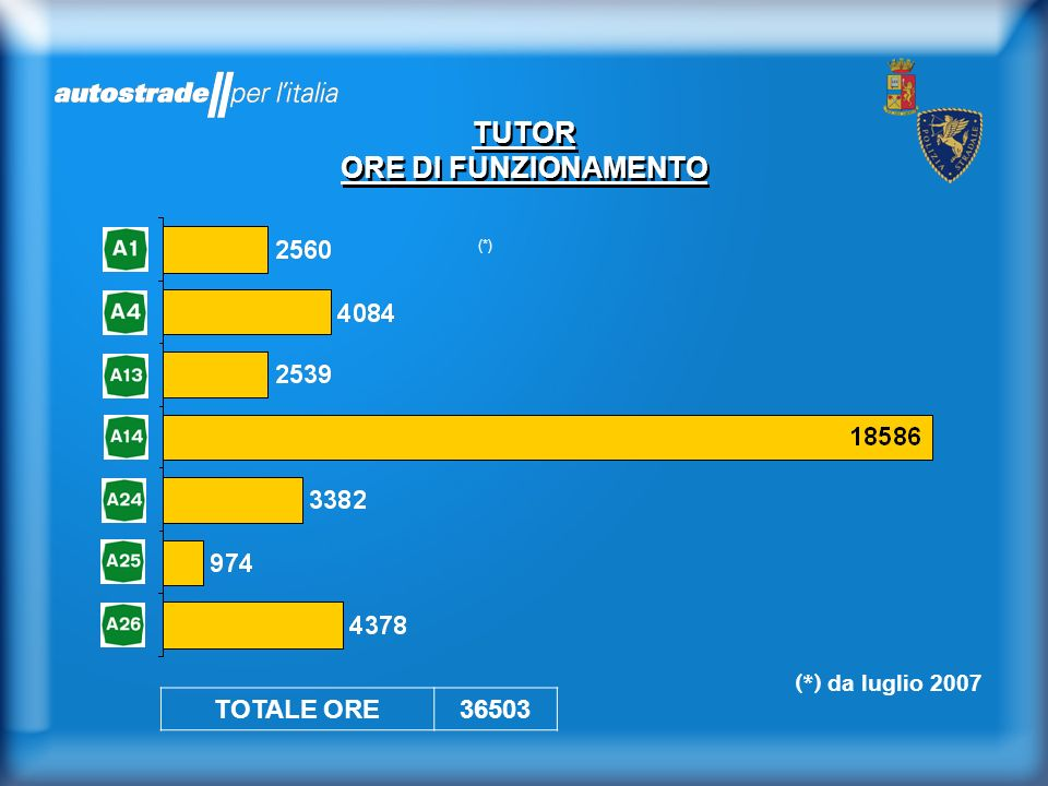 (*) TUTOR ORE DI FUNZIONAMENTO TOTALE ORE36503 (*) da luglio 2007