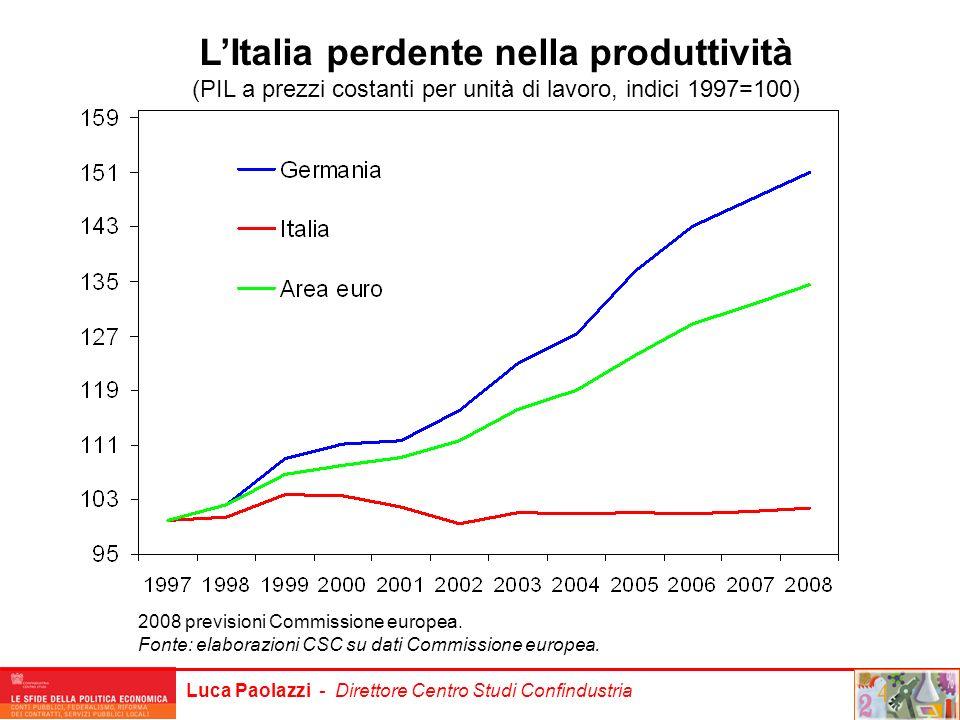 Luca Paolazzi - Direttore Centro Studi Confindustria LItalia perdente nella produttività (PIL a prezzi costanti per unità di lavoro, indici 1997=100)