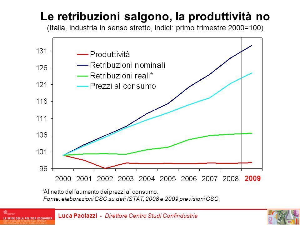 Luca Paolazzi - Direttore Centro Studi Confindustria Le retribuzioni salgono, la produttività no (Italia, industria in senso stretto, indici: primo tr