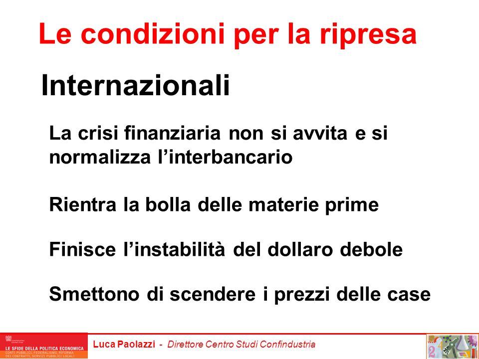 Luca Paolazzi - Direttore Centro Studi Confindustria Internazionali Le condizioni per la ripresa La crisi finanziaria non si avvita e si normalizza li
