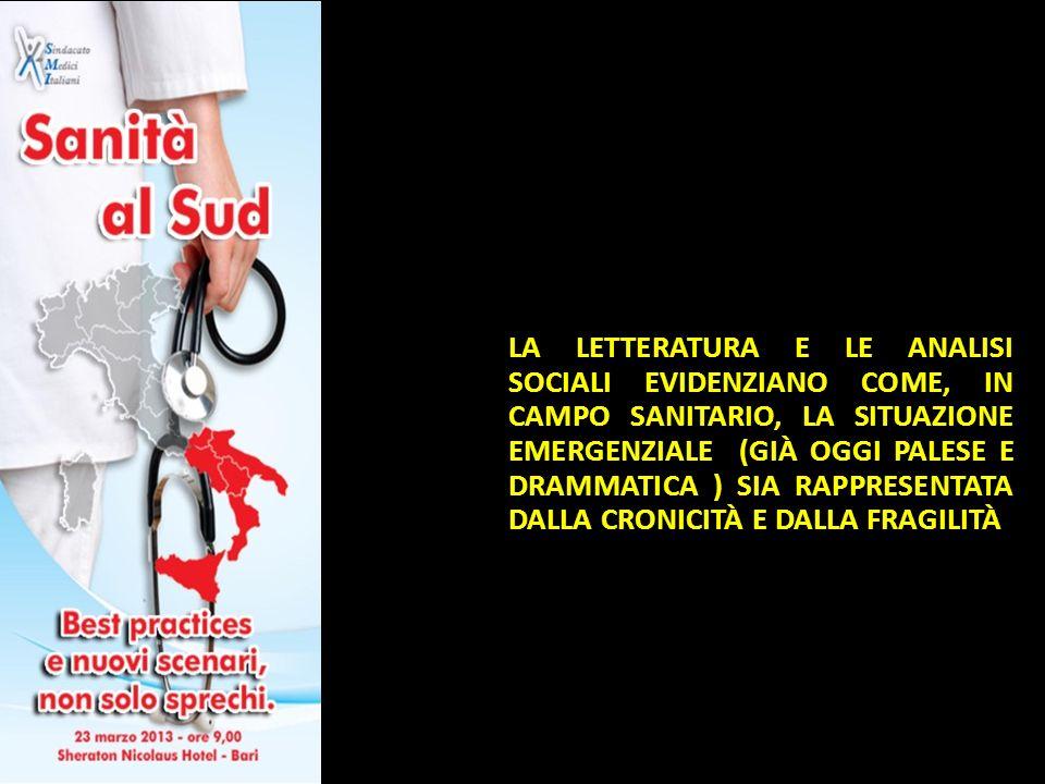 LA LETTERATURA E LE ANALISI SOCIALI EVIDENZIANO COME, IN CAMPO SANITARIO, LA SITUAZIONE EMERGENZIALE (GIÀ OGGI PALESE E DRAMMATICA ) SIA RAPPRESENTATA DALLA CRONICITÀ E DALLA FRAGILITÀ