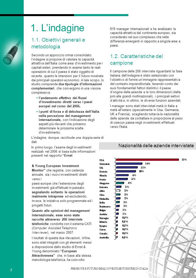 Settori di attività delle aziende intervistate Le dimensioni delle aziende coinvolte nellindagine - rispecchiando la suddivisione tra piccole, medie e grandi imprese - sono comprese nelle categorie seguenti: meno di 150 milioni di euro di fatturato, da 150 a 1500 milioni, oltre 1500 milioni.