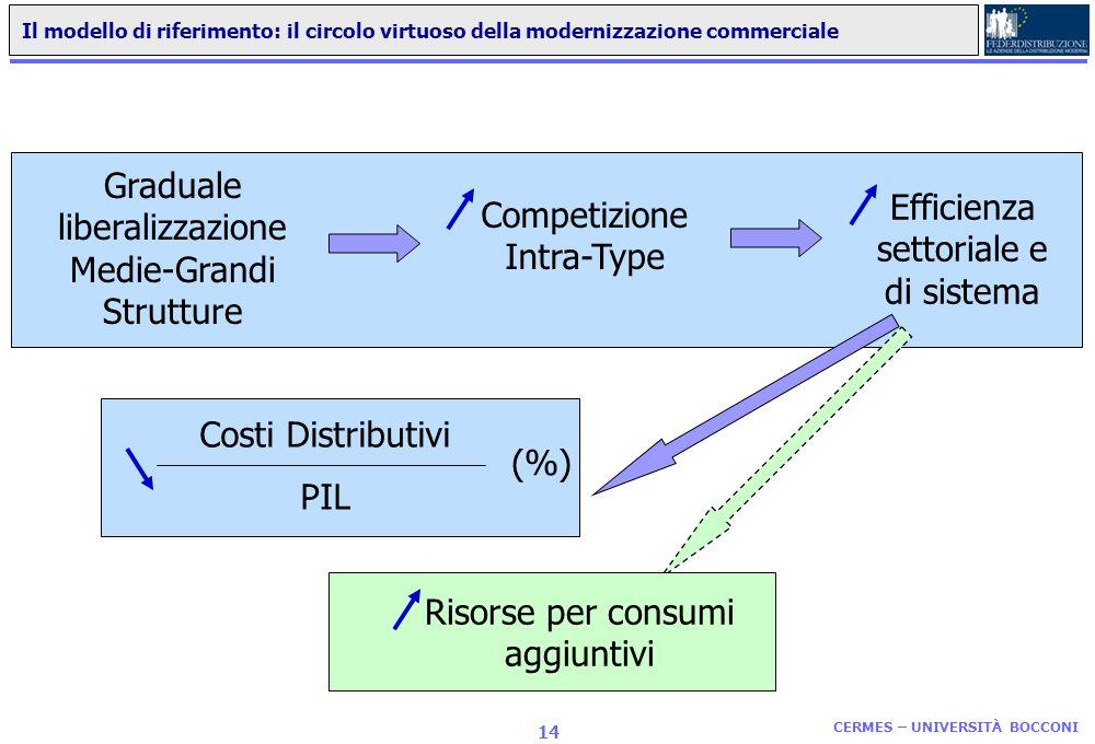 CERMES – UNIVERSITÀ BOCCONI 13 Consumi Grocery pro-capite e dotazione di servizi commerciali moderni nel 2006 Consumi Grocery pro-capite (numeri indic