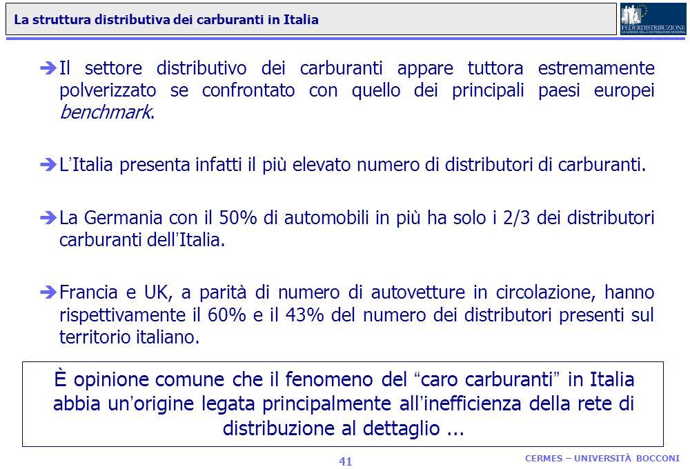 La distribuzione di carburanti in Italia Il processo di liberalizzazione: quali sviluppi? CERMES UNIVERSITÀ BOCCONI