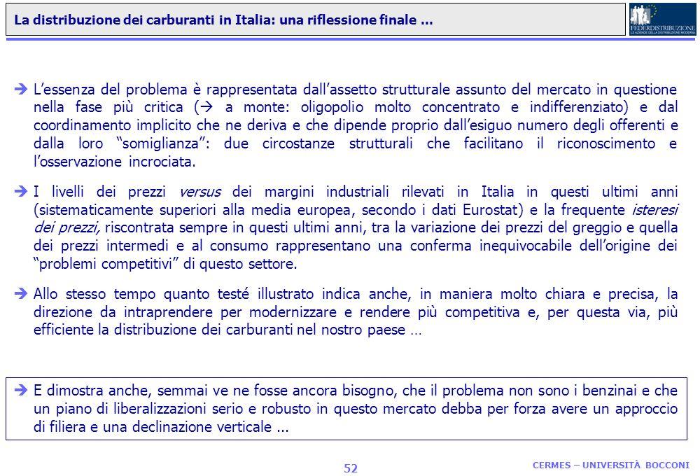CERMES – UNIVERSITÀ BOCCONI 51 Sviluppo della GDO: una stima del recupero di efficienza nella distribuzione dei carburanti in Italia Scenario SOFT Sce