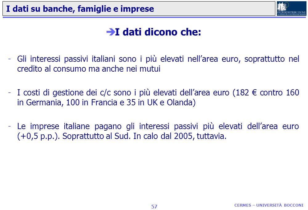 CERMES – UNIVERSITÀ BOCCONI 56 Quanta concorrenza cè davvero nel settore bancario in Italia? èGli indici più rilevanti per misurare la concorrenza nel