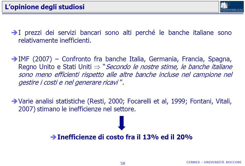 CERMES – UNIVERSITÀ BOCCONI 57 I dati su banche, famiglie e imprese èI dati dicono che: -Gli interessi passivi italiani sono i più elevati nellarea eu