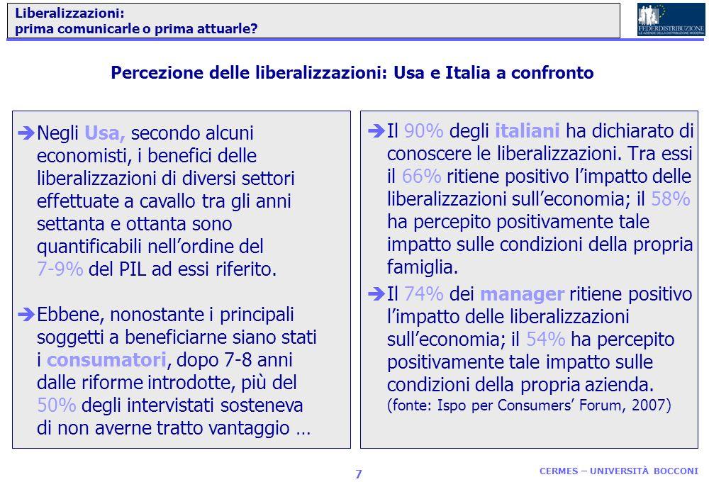 CERMES – UNIVERSITÀ BOCCONI 6 Un modello ideale di intervento per cercare di sostenere la domanda con un piano di liberalizzazioni... Ricercare il cam