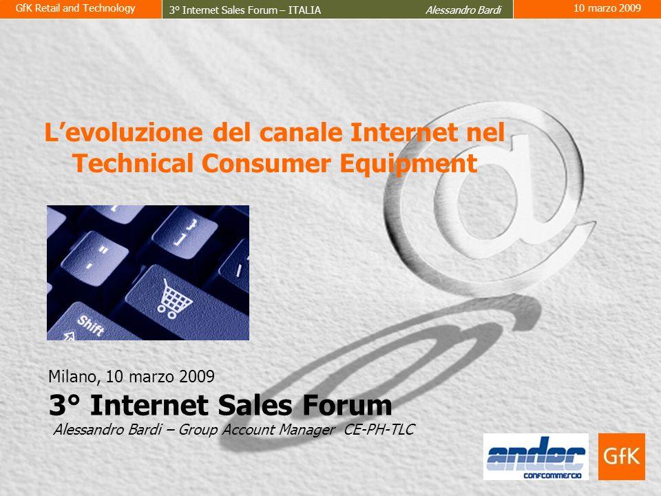 GfK Retail and Technology 3° Internet Sales Forum – ITALIA Alessandro Bardi 10 marzo 2009 2 © by GfK-RT, www.gfkrt.comRG1258557-PRIMA PAGINA(2) 2 ELETTRONICA DI CONSUMO TELEFONIA FOTOGRAFIA INFORMATICA Anno 2008 11,7 miliardi Euro (GfK Retail Market, Sell-Out, Prezzi al pubblico IVA inclusa) -1,2 % ELETTRONICA DI CONSUMO TELEFONIA FOTOGRAFIA INFORMATICA Dimensioni del mercato a valore Technical Consumer Equipment (CE-PHOTO-TELECOM-IT)