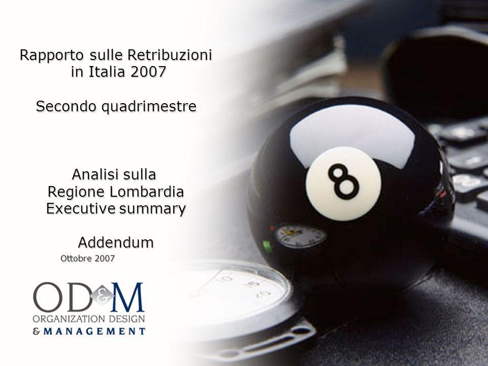 Rapporto sulle Retribuzioni in Italia 2007 in Italia 2007 Secondo quadrimestre Analisi sulla Regione Lombardia Executive summary Addendum Ottobre 2007