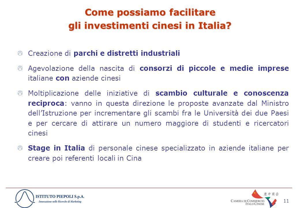 11 Come possiamo facilitare gli investimenti cinesi in Italia.