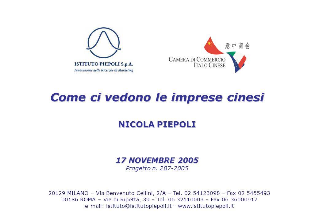 14 Come ci vedono le imprese cinesi NICOLA PIEPOLI 17 NOVEMBRE 2005 Progetto n.