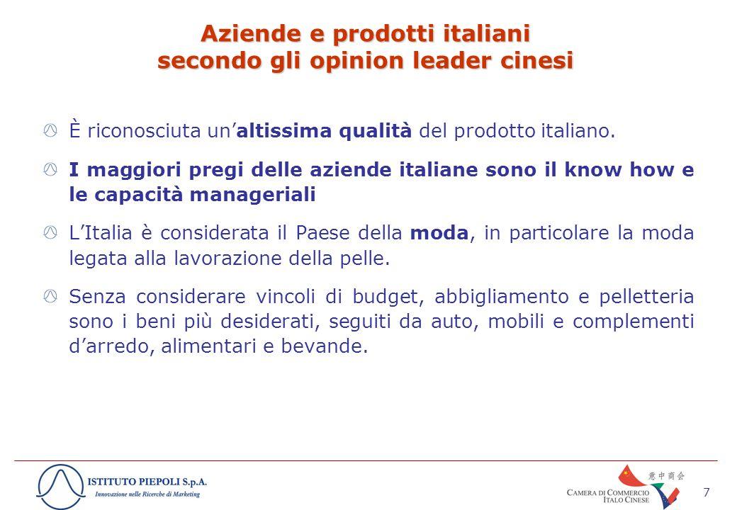 8 Cosa pensa dovrebbe fare lItalia per migliorare la sua immagine e le vendite dei suoi prodotti in Cina.