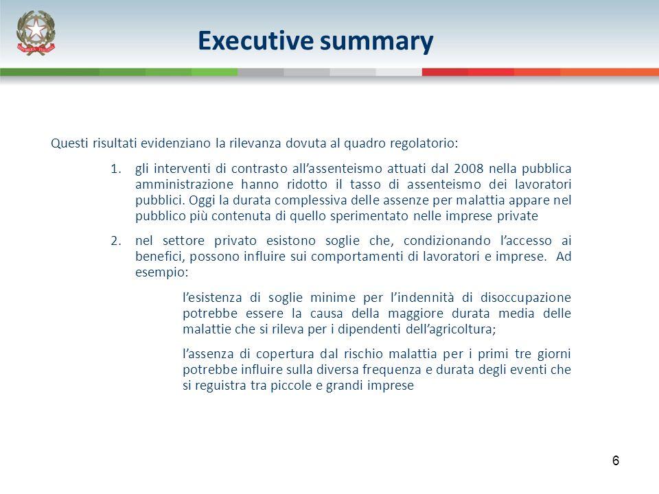 Executive summary Questi risultati evidenziano la rilevanza dovuta al quadro regolatorio: 1.gli interventi di contrasto allassenteismo attuati dal 2008 nella pubblica amministrazione hanno ridotto il tasso di assenteismo dei lavoratori pubblici.
