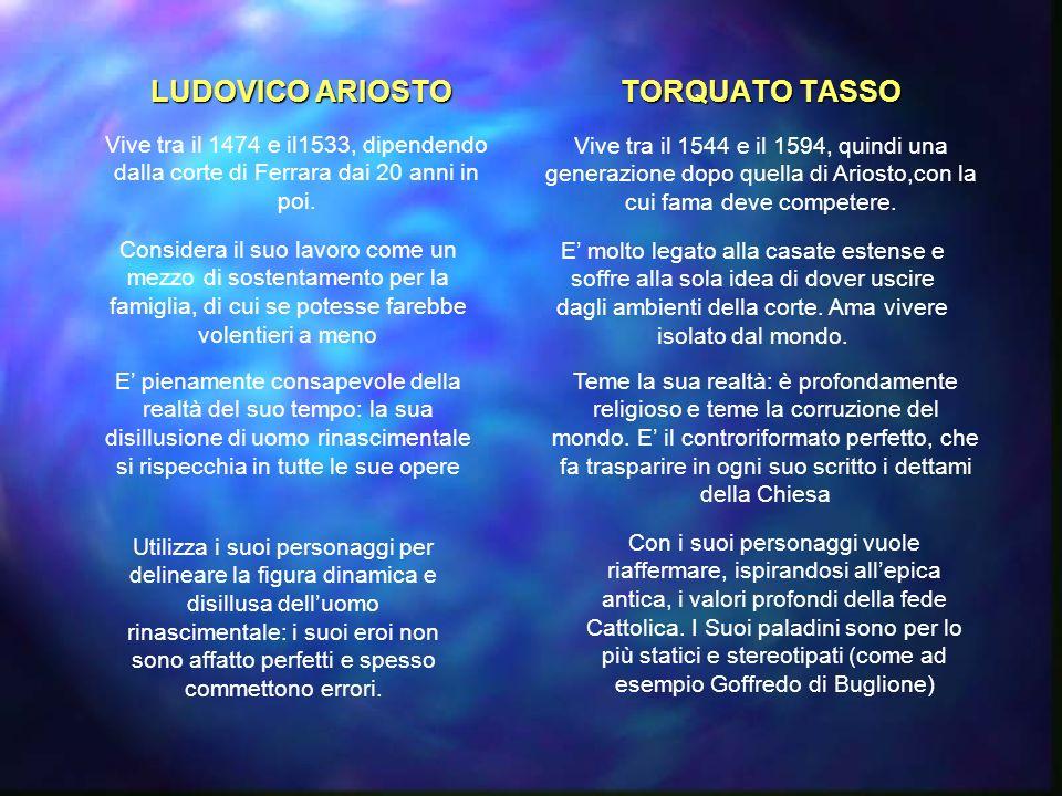 LUDOVICO ARIOSTO TORQUATO TASSO Vive tra il 1474 e il1533, dipendendo dalla corte di Ferrara dai 20 anni in poi.