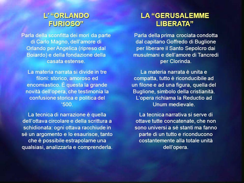 L ORLANDO FURIOSO LA GERUSALEMME LIBERATA Parla della sconfitta dei mori da parte di Carlo Magno, dellamore di Orlando per Angelica (ripreso dal Boiardo) e della fondazione della casata estense.
