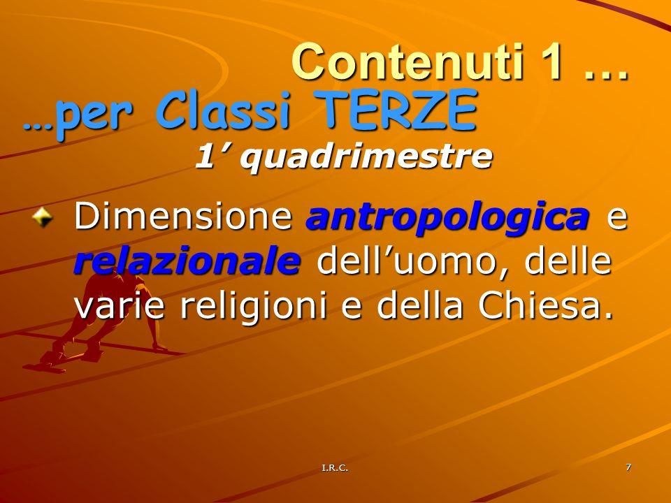 I.R.C. 7 Contenuti 1 … Dimensione antropologica e relazionale delluomo, delle varie religioni e della Chiesa. …per Classi TERZE 1 quadrimestre