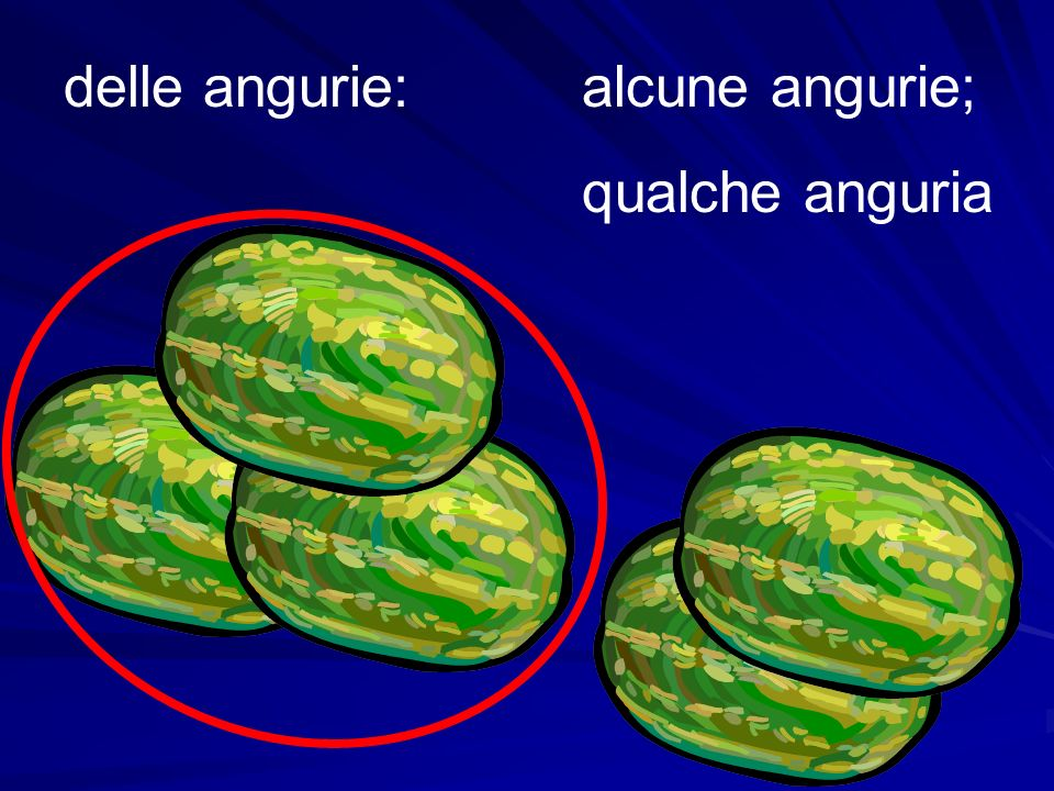 delle angurie:alcune angurie; qualche anguria