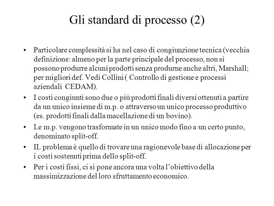 Gli standard di processo (2) Particolare complessità si ha nel caso di congiunzione tecnica (vecchia definizione: almeno per la parte principale del processo, non si possono produrre alcuni prodotti senza produrne anche altri, Marshall; per migliori def.
