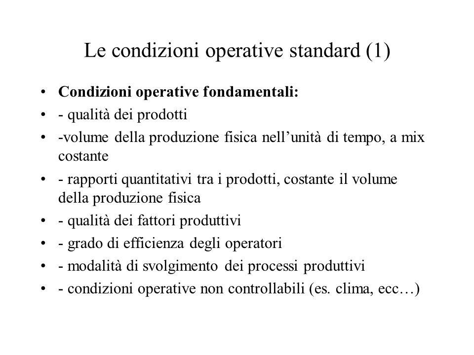 Le condizioni operative standard (1) Condizioni operative fondamentali: - qualità dei prodotti -volume della produzione fisica nellunità di tempo, a m