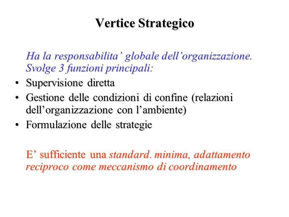 Vertice Strategico Ha la responsabilita globale dellorganizzazione. Svolge 3 funzioni principali: Ha la responsabilita globale dellorganizzazione. Svo