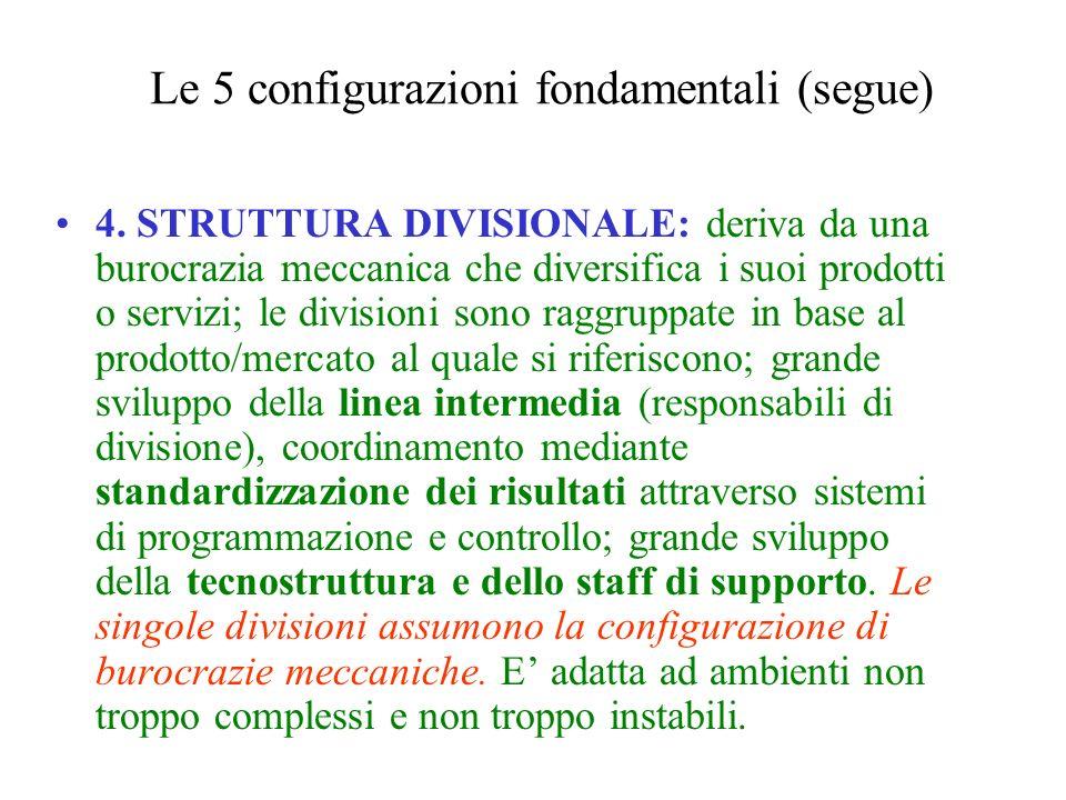4. STRUTTURA DIVISIONALE: deriva da una burocrazia meccanica che diversifica i suoi prodotti o servizi; le divisioni sono raggruppate in base al prodo