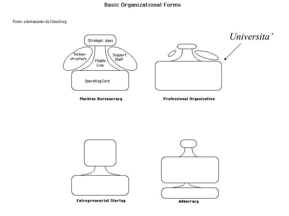 Universita Fonte: adattamento da Mintzberg