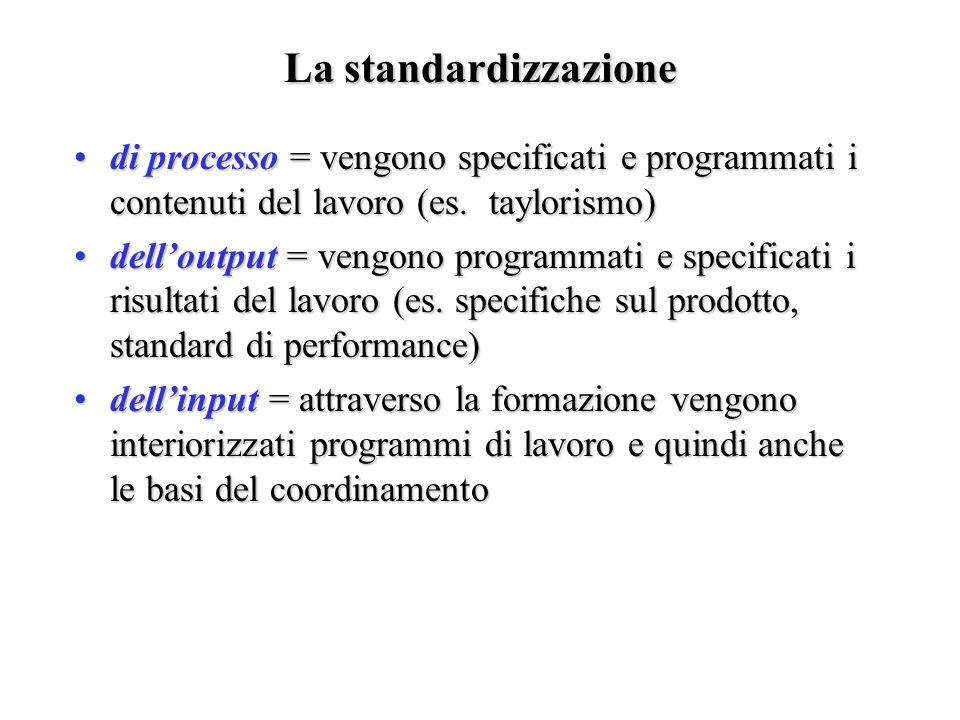 La standardizzazione di processo = vengono specificati e programmati i contenuti del lavoro (es. taylorismo)di processo = vengono specificati e progra