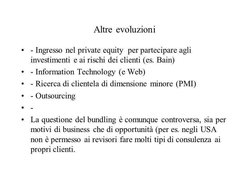Altre evoluzioni - Ingresso nel private equity per partecipare agli investimenti e ai rischi dei clienti (es. Bain) - Information Technology (e Web) -