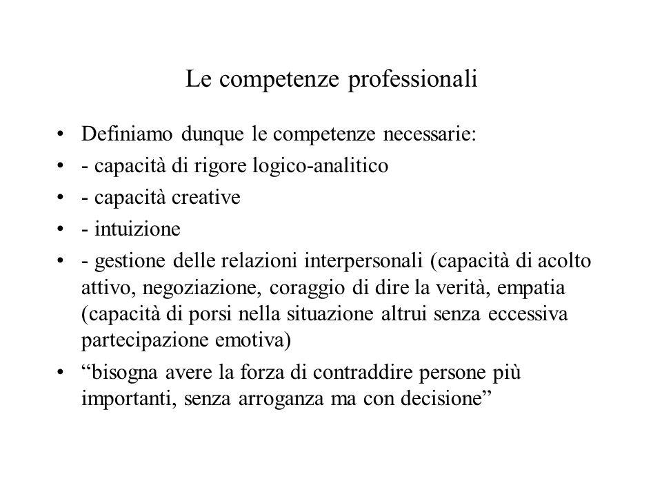Le competenze professionali Definiamo dunque le competenze necessarie: - capacità di rigore logico-analitico - capacità creative - intuizione - gestio