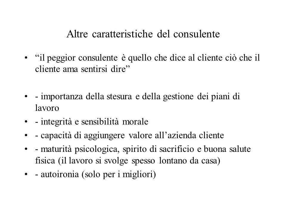 Altre caratteristiche del consulente il peggior consulente è quello che dice al cliente ciò che il cliente ama sentirsi dire - importanza della stesur