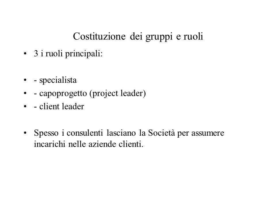 Costituzione dei gruppi e ruoli 3 i ruoli principali: - specialista - capoprogetto (project leader) - client leader Spesso i consulenti lasciano la Società per assumere incarichi nelle aziende clienti.