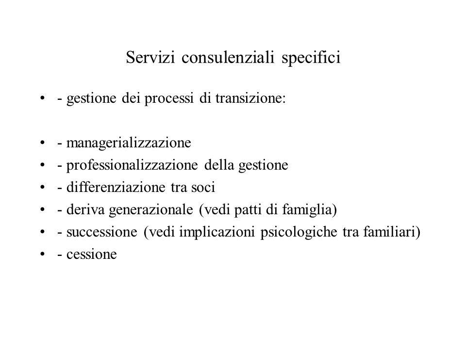 Servizi consulenziali specifici - gestione dei processi di transizione: - managerializzazione - professionalizzazione della gestione - differenziazione tra soci - deriva generazionale (vedi patti di famiglia) - successione (vedi implicazioni psicologiche tra familiari) - cessione
