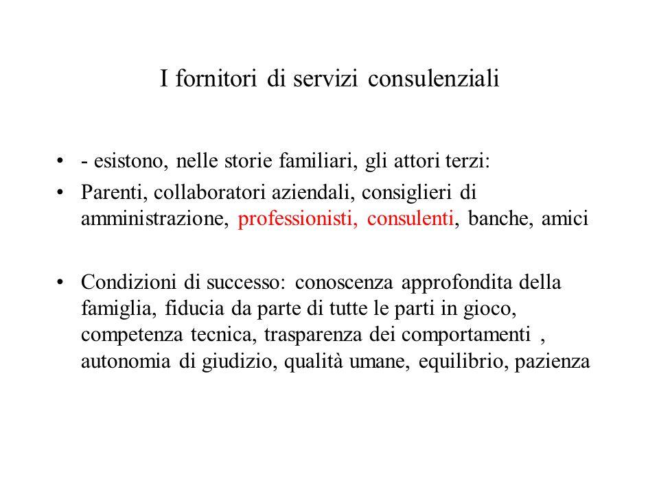 I fornitori di servizi consulenziali - esistono, nelle storie familiari, gli attori terzi: Parenti, collaboratori aziendali, consiglieri di amministra