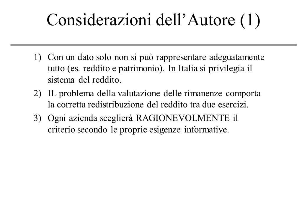 Considerazioni dellAutore (1) 1)Con un dato solo non si può rappresentare adeguatamente tutto (es.